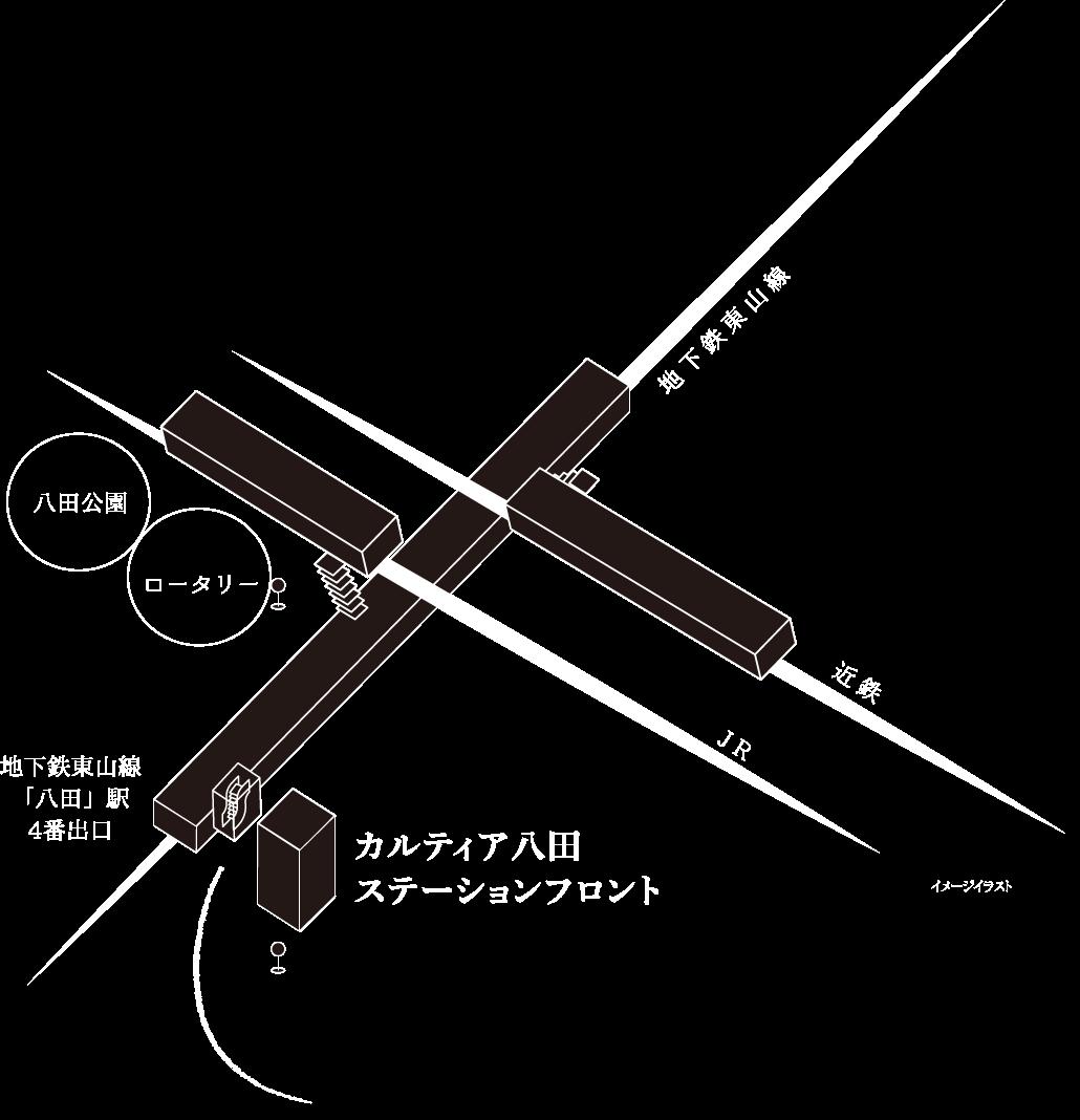 イワクラゴールデンホームのカルティア八田ステーションフロントがある八田総合駅の略図
